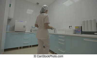 instruments, monde médical, dentaire, préparer, infirmière