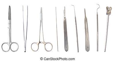 instruments, monde médical, isolé, divers, chirurgie, blanc