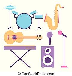 instruments, musical, collection, équipement