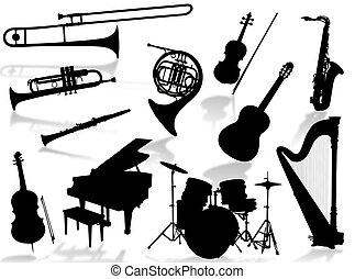 instruments, musical, silho