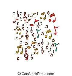 instruments, notes, musique, fond, icône