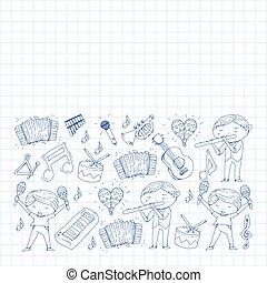 instruments., patterns., vecteur, illustration, musical, musique, fond