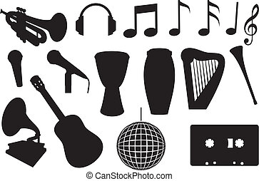 instruments, silhouettes, musical