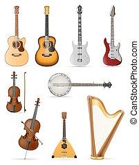 instruments stringed, illustration, vecteur, musical, stockage