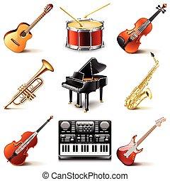 instruments, vecteur, ensemble, musical, icônes
