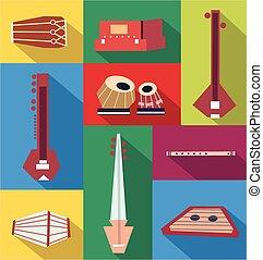 instruments, vecteur, indien