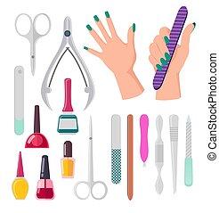 instruments, vecteur, manucure, illustration, mains