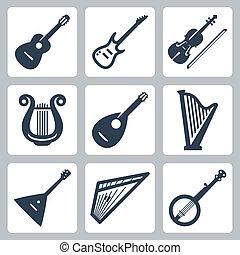 instruments:, vecteur, musical, instruments à cordes
