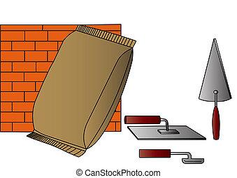 instument, väska, cement