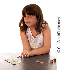 Insufficient Funds - Elementary girl counting her money, ...