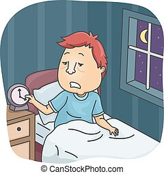 Insufficient Sleep - Illustration of a Tired Looking Man...