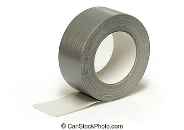 Insulating tape - Silver insulating tape isolated on white ...