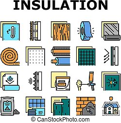Insulation Building Collection Icons Set Vector