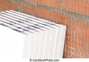 Insulation material on a construction site