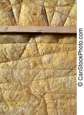 insulation material rock-wool on wall  background
