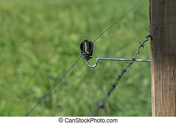 Insulator of an electric fence. - Close up connection of an...