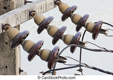 Insulators - electrical transmission tower landscape Energy ...