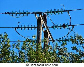 insulators, poder forra, vidro, elétrico, acima, verde, cerca