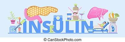 Insulin header concept vector. Diabetes mellitus, type 2 diabetes