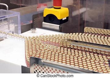 Insulin production line. Industrial release of insulin in cartridges. Insulin cartridge for diabetics. Cartridge 3 ml of insulin.