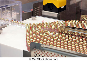 Insulin production line. Industrial release of insulin in cartridges. Insulin cartridge for diabetics. Cartridge 3 ml of insulin.