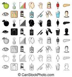 insuline, régime, vecteur, collection, diabète, symbole, attributes., sucre, niveau, analyse, autre, dessin animé, style, icônes, ensemble, web., illustration, stockage