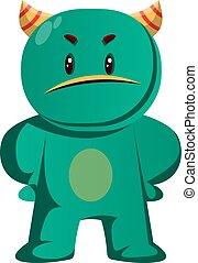 insulted, wektor, zielony potwór, ilustracja