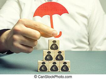 insurance., お金, ∥守る∥, 投資, 木製である, イメージ, 保険, euro., protection., 保持, 汚職, ブロック, 金庫。, 節約, business., losses., 資本, エージェント, 危険