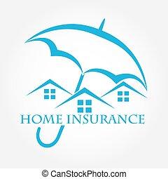 insurance., 家, icon., 傘, 家