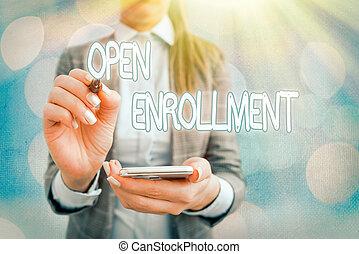 insurance., 概念, テキスト, 毎年, 期間, 印, enrollment., 缶, 開いた, いつか, 提示, 写真, enroll