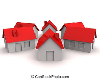 insurance - 3d rendered illustration of a ring of houses