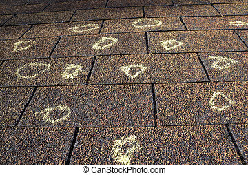 Insurance Adjuster Marked Roof With Hail Damage - Insurance...