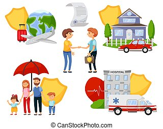 Insurance agent and people conclude safety policy agreement. Medical healthcare, property and travel insurance service to cover expense and damage vector illustration isolated on white background