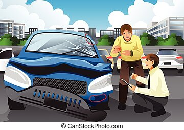 Insurance agent assessing a car accident - A vector...