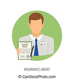 Insurance Agent Flat Icon for Web Site, Advertising with...