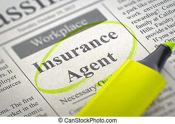 Insurance Agent Hiring Now. 3D Illustration.