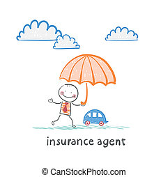 insurance agent is holding an umbrella over the machine