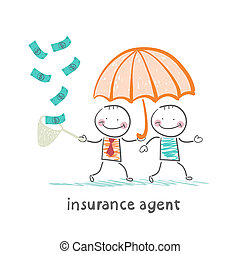 insurance agent protects human umbrella and collects a net...