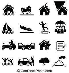 Insurance and disaster icon set - Insurance, accident,...