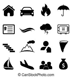 Insurance and disaster icon set - Insurance, accident and...