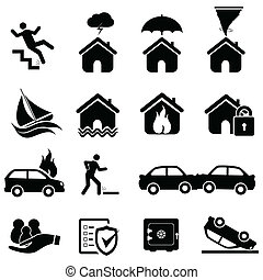 Insurance and disaster icons - Insurance and disaster icon...