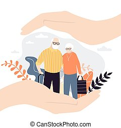 Insurance and healthcare concept background. Big hands of businessman covering tiny old people with care.