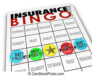 Insurance Bingo Choosing Best Policy Plan Coverage Premium -...