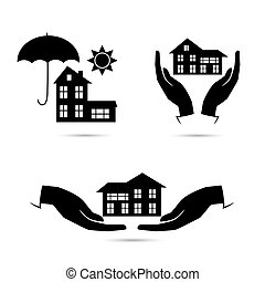 Insurance black icons set - Insurance blackl icons set...