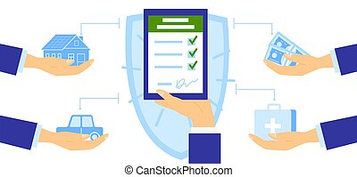 Insurance business vector illustration. Cartoon flat insurer businessman hand holding application claim form document, guarantee against accident with health and property, insurance service background