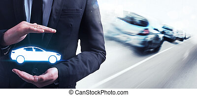 Insurance car - Man holds in his hands a car