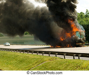 insurance case with truck in fire ith black smoke