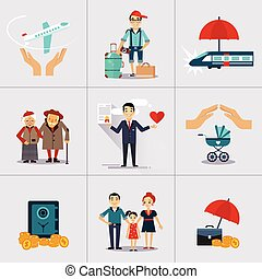 Insurance Character and Icons Template. Vector illustration...