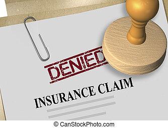 3D illustration of DENIED stamp title on insurance claim document