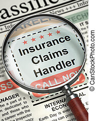 Insurance Claims Handler Wanted. 3D.